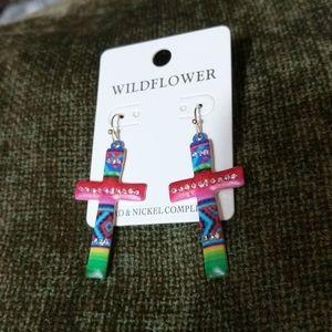 Multi colored Cross earrings